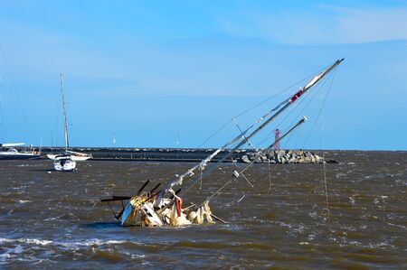 Boat shipwrecked in Punta del Este in Uruguay Stock Photo