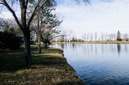 landscape of lake with the trees fund and the sky blue with clouds thinking in the water Imagens