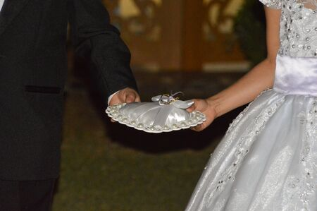 Cropped image of kids in party attire carrying cushion with rings