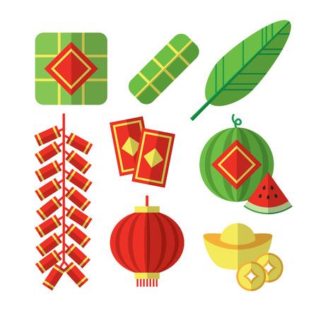 Vector illustrations of Vietnamese Tet Lunar New Year items.