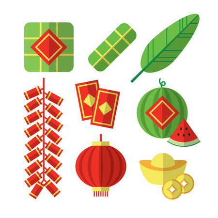 Vector illustrations of Vietnamese Tet Lunar New Year items.