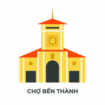 Ben Thanh Market - Cho Ben Thanh Saigon Vietnam Vector Illustration