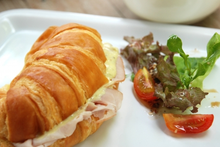 smoked ham croissant sandwich photo