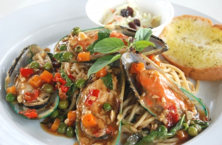 sea food: sea food spaghetti spicy and sour Asian sauce Stock Photo