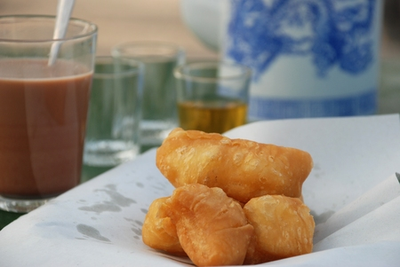 butter icing: Deep - fried dough stick  a kind of Chinese flour sweetmeat Stock Photo