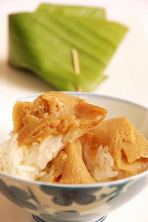 Egg custard with sweet sticky rice, exotic Thai sweet photo