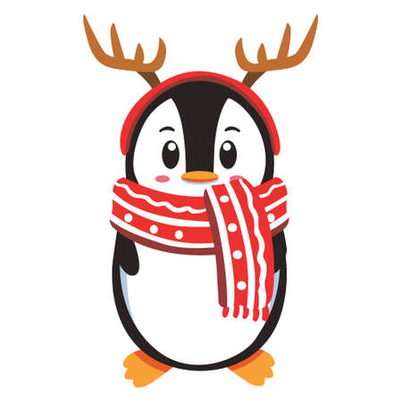 Pinguin Character wearing hat for winnter season