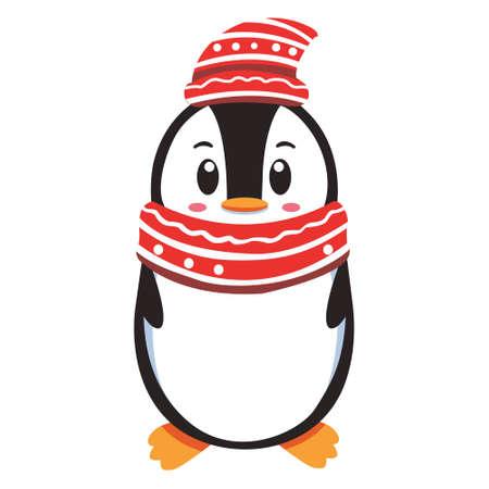 Pinguin Character wearing hat for winnter season