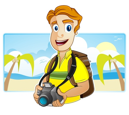 A Backpacker is putting on the backpack and is holding a camera  Illustration