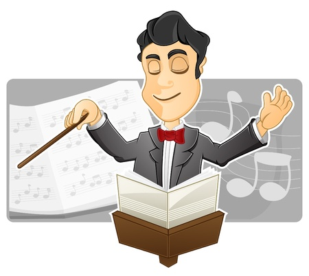 conducting: A Conductor is conducting by holding a baton Illustration