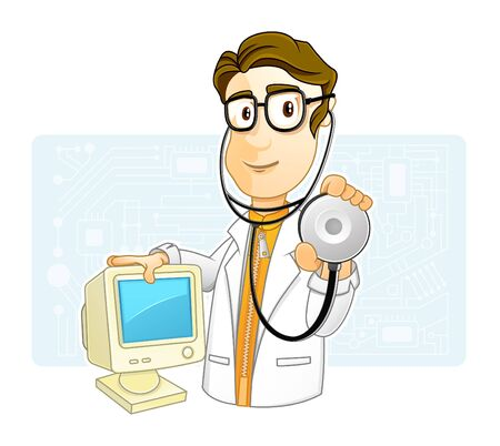 I check your Computer Stock Vector - 18578210