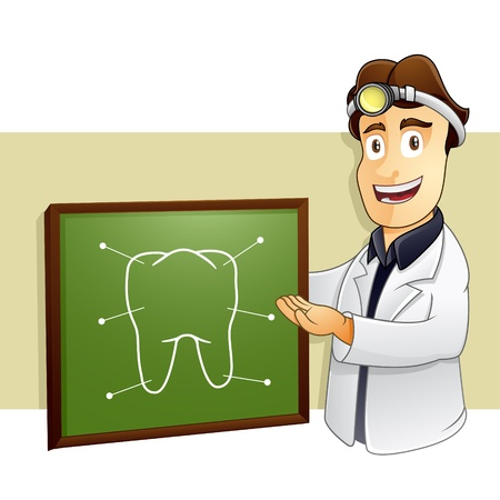 explaining: Smart Dentist is Explaining the part of tooth in chalkboard