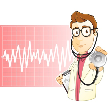 glasess: The doctor is holding a stethoscope and is ready to check your health