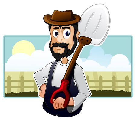 A Farmer is standing in front of his farm and holding a scoop