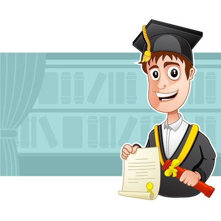 A Graduate is wearing graduation gown and is holding a certificate  Illustration