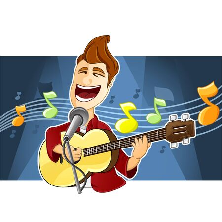 A delightful singer is singing a song and is playing his guitar