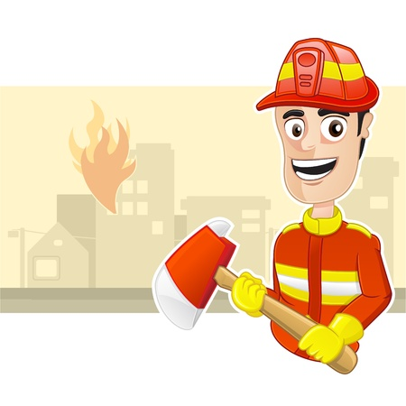 conflagration: Fire Fighter holding an axe Illustration