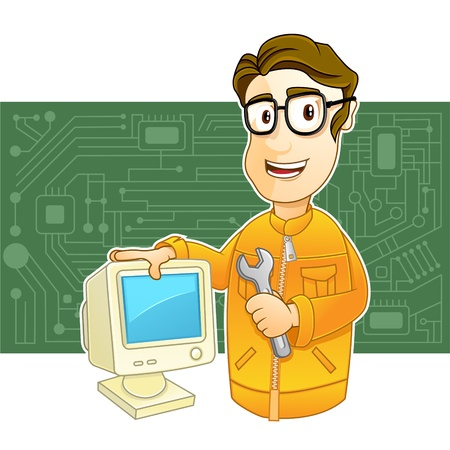 computer repairing:  illustration of a Technician holding wrench and PC monitor