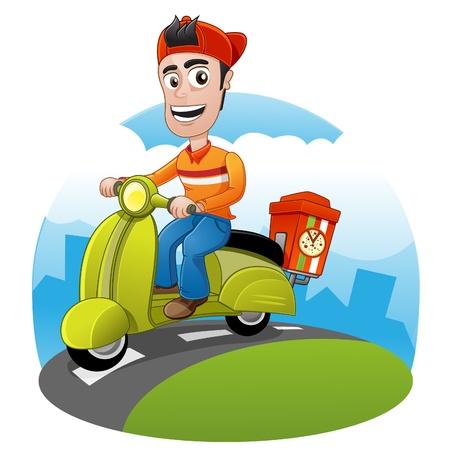 vespa: Entrega de la pizza feliz est� montando una moto para enviar el pedido Vectores