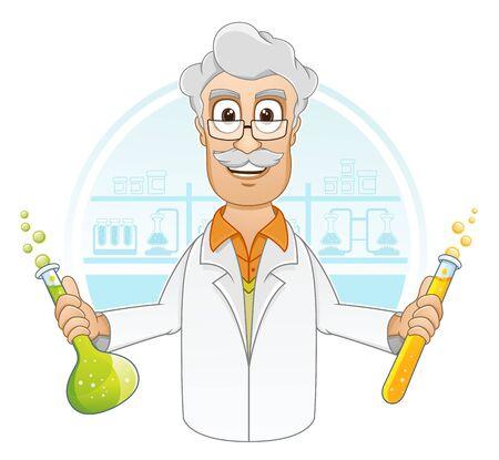 illustration of Scientist is holding beaker of chemicals liquid in laboratory