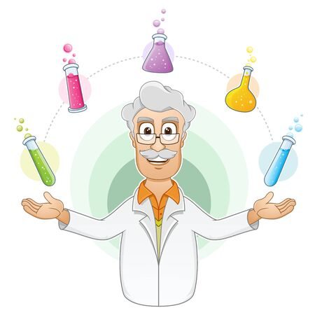 scientist man:  illustration of a Scientist showing the beakers of chemical liquid by juggling them in the air