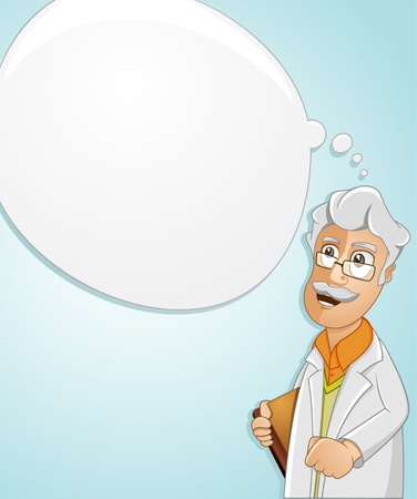 Illustration of a Scientist is thinking to find the idea