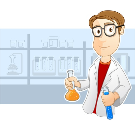This smart scientist is doing an a experiment  His going to mix to kinds of liquid