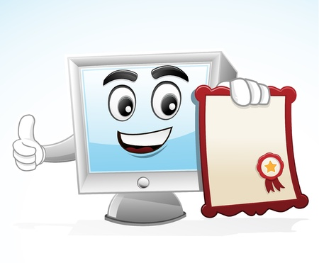 Illustration of a computer mascot Holding Certificate