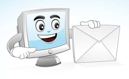 illustration of a Computer mascot is holding an envelope to show his address