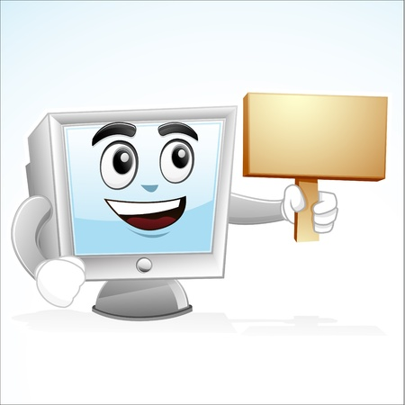 illustration of a computer mascot is holding a board on his left hand Illustration