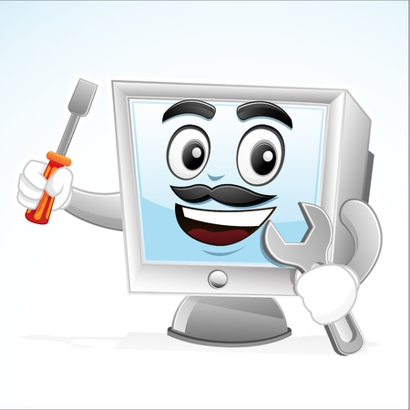 illustration of a computer mascot holding screwdriver and monkey wrench Illustration