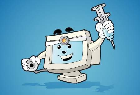 funy: Illustration of computer mascot with stethoscope and syringe in his hand