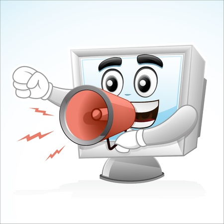 illustration of a Computer mascot is shouting with a megaphone on his right hand Illustration
