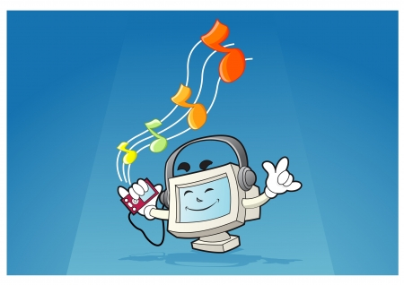 Illustration of a computer mascot listening to the music with the music player on his hand
