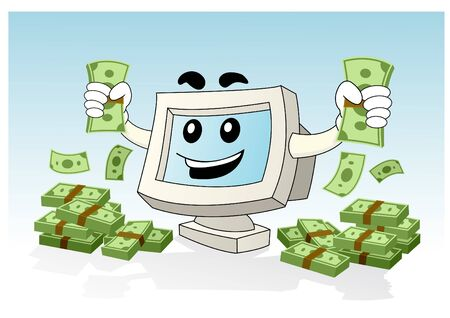 Illustration of a computer desktop holding money