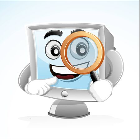 Illustration of a computer mascot holding Magnifying Glass