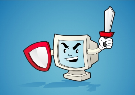 Illustration of a computer desktop holding shield and swords on his hands
