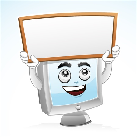 Illustration of a computer mascot holding a blank white board, copy space for your text  Illustration