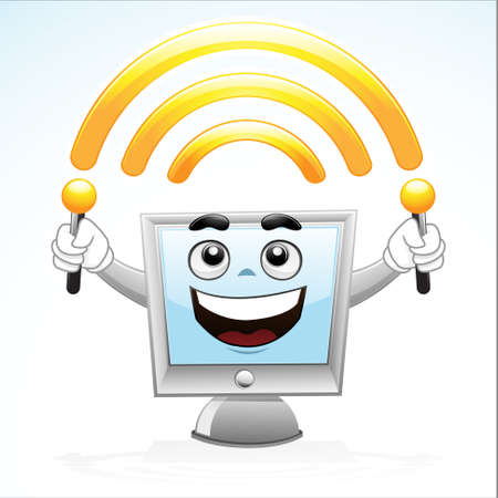 Illustration of a computer mascot with holding wi-fi antenna