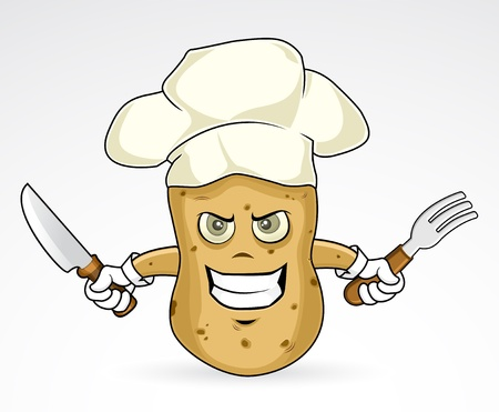 Chef Potato - angry   illustration
