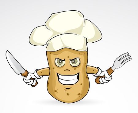 Chef Potato - angry   illustration