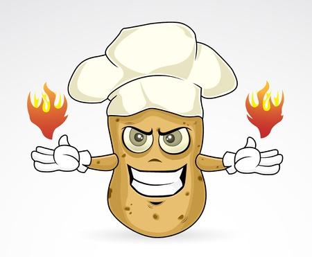 Chef Potato - burn Illustration