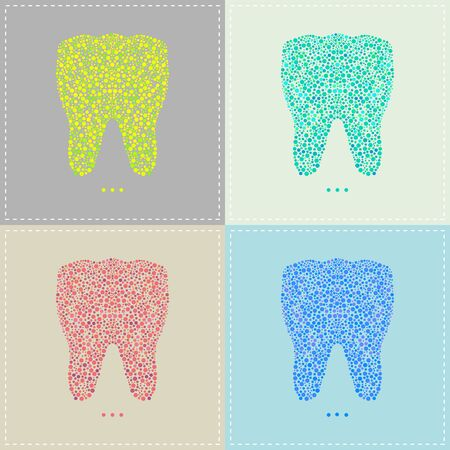 Vector illustration of a pattern of Tooth in various colors
