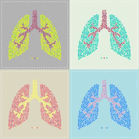 Illustration of a pattern of Lung in various colors