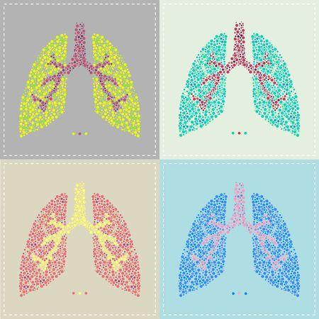 inhalacion: Ilustraci�n de un patr�n de pulm�n en varios colores Vectores