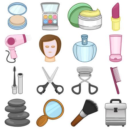 secador de pelo: Maquillaje de iconos de belleza Ilustraci�n conjunto
