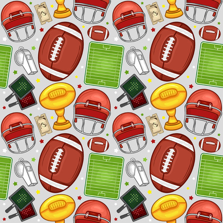 American football equipment seamless pattern background - Sport - Illustration Vector