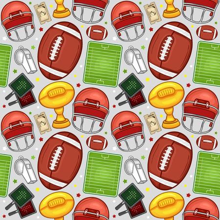 American football equipment seamless pattern background - Sport - Illustration