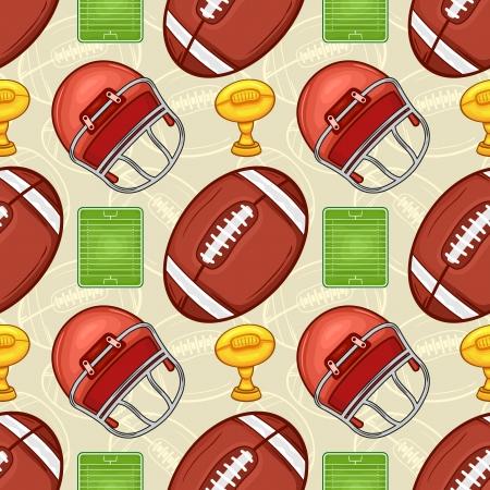 American football equipment seamless pattern - Sport - Illustration Illustration