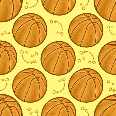 Basket balls Seamless pattern background - sport - Illustration